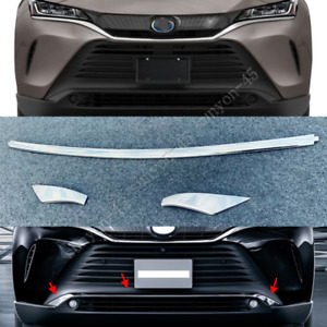 For Toyota Venza 2021 ABS plating Front Bumper Moulding Cover Trim 3PCS