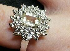 Serenite & White Topaz Sterling Silver Ring.Size N-0 .atgw 2.15cts. Hallmarked