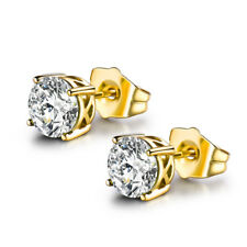 NEW 24K Yellow Gold Filled 7mm Diamond Sapphire Women Lady Wedding Stud Earrings