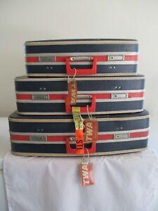 Vintage 3 Piece Luggage Set Blue, Red & White (20)