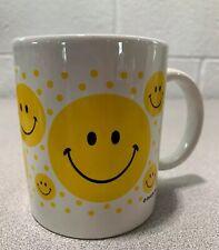 Vintage Yellow  Happy Smiley Faces Coffee Tea Mug Cup A+ Condition. Retro 70s!!!