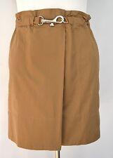 LANDS' END Brown Silver Hook Clasp Elastic Faux Wrap Cotton SKIRT sz 12 Petite