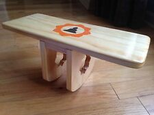 Natural Pi Bench with Hand Painted Buddha and Lotus Flower With Lotus Leg Cutout