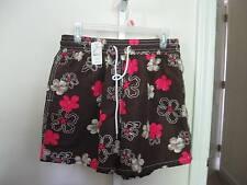 GRANT THOMAS $58 Dk Brown Floral Elastic Waist Swim Trunks sz Large NWT
