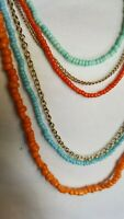 Vintage Necklace turquoise/coral imitation seed bead gold tone multi strand
