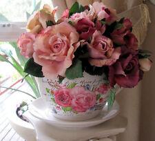 Beautiful Shabby Rose Ceramic Tea Cup & Saucer Rose Pot Planter