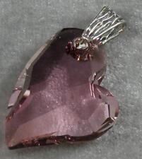Avilagems Heart Swarovski Crystal Antique Pink .925 Sterling Silver Pendant Bail