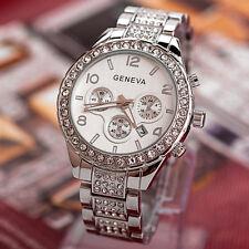 Luxury Geneva Women Ladies Fashion Crystal Quartz Stainless Steel Watch Silver