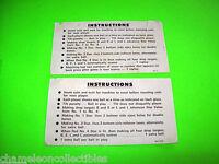 LIBERTY BELL By WILLIAMS 1977 ORIGINAL PINBALL MACHINE SET 2 INSTRUCTION CARDS