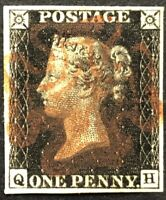 GB QV 1840 PENNY BLACK FOUR MARGIN 'QH' PLATE 8 CANCELLED BY RED MALTESE CROSS!