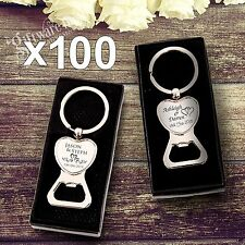100x Engraved Solid Heart Bottle Opener Keyring Wedding Favour Gift Personalised
