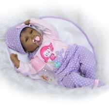 "22"" Lifelike Reborn Baby Black African American Silicone Vinyl Smile Girl Doll"