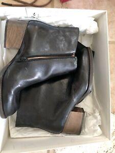 Ellen Verbeek black with brown contrasting artisan block heel NIB$675 37