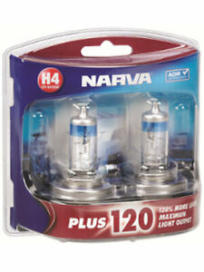 Narva 12V H4 60/55W Plus 120 P43T Halogen Headlight Globes Pack of 2 (48362BL2)