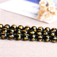 Glass Bead Gold Color Rune Black Stone Bead Jewelry Making DIY Attract Good Luck