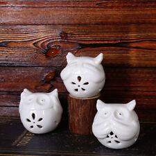 3 Pcs Home Decoration Candle Holder White Ceramic Owl See Hear Speak No Evil
