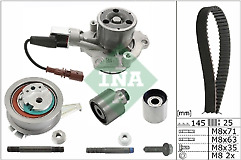 INA Timing Belt & Water Pump Kit AUDI SEAT SKODA VW 1.6 2.0 TDI 2012>