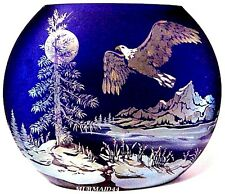 Fenton Art Glass Freedom Soars Favrene Sand Carved Vase New Mint In Box #195