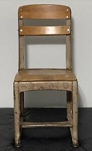 """American Seating Envoy Steel Wood School Chair Student 1950s 25.5""""Tx12""""W 13""""Drop"""