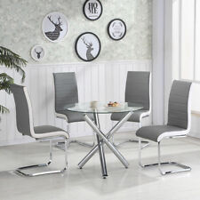 Round Glass Dining Table 4 Pcs Grey&White PU Leather Dinning Chairs Set Kitchen