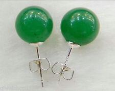 10MM round natural green Jade Silver Stud Earrings Earring
