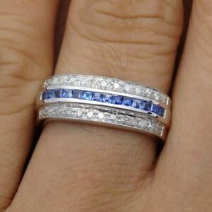 Real Diamonds Sapphires 0.59CT Engagement Wedding Ring Princess Sterling Silver