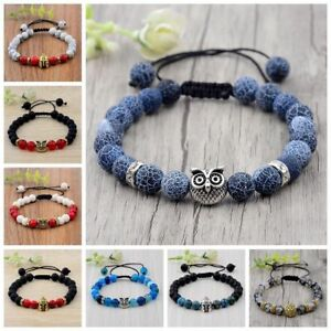 Fashion Mens Lava Stone Lion Owl Skull Helmet Beads Braided Macrame Bracelets