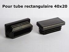 4 Bouchons embouts pour tube rectangulaire plastique PVC NOIR 40x20 mm
