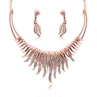 Necklace And Earring Sets Crystal Jewelry Set Rose Gold Jewelry Wedding Jewelry