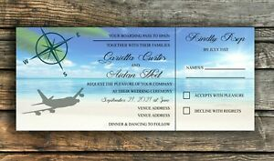 Boarding Pass/Away Weddings Invitations Complete with Envelopes Pack of 10