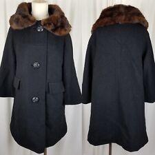 Vintage 50s Ribbed Black Wool Fox Fur Muff Collar MCM Peacoat Coat Womens S USA