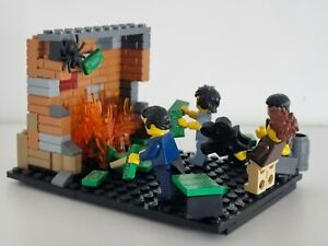 The KLF Jams Diorama £1m Burning Isle of Jura Custom LEGO SET 4x Minifigure Set