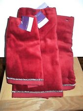 NEW! Set/3 Holiday Bling 100% Cotton Burgundy/Crystal Decorative Bath Towels