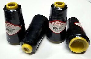 4 Big Spools Sewing Thread Polyester BLACK 2500 yards each Spool NEW