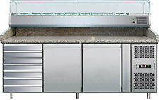 Banco Pizza  2 Porte + cassettiera Tavolo Frigo Inox Prof. 600x400  PZ2610TN38