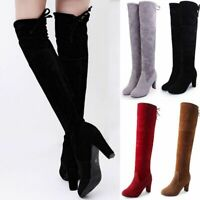 WOMENS LADIE THIGH HIGH BOOTS OVER THE KNEE PARTY STRETCH BLOCK MID HEEL UK 2020