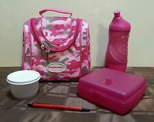 Tupperware PINK Camo Lunch Bag Sports Bottle SANDWICH Keeper Snack Cup RARE NEW