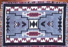 "Set of 2 Placemats 13x19"" Jacquard Cotton Red Gray Black Southwestern Geometric"