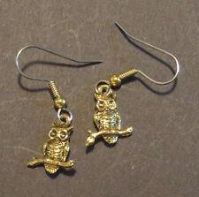 Owl Earrings 24 Karat Gold Plate Wise Old Owls Barn Hoot Halloween Winter