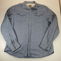 G Star Raw Mens Western Style Cotton Shirt Pearl Snap Button Long Sleeve XXL