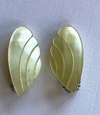 "Vintage Earrings -  1950's Pale Yellow ""Angel Wings"" Casein Clip-on Earrings"