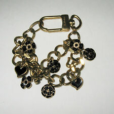 St. John Gold Chunky Statement Double Charm Bracelet 12 Charms Hearts Flowers
