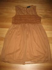 LADIES CUTE BROWN LACE LINED POLY NYLON SLEEVELESS DRESS BY TOPSHOP - SIZE 10