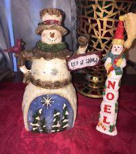 Two Snowman Christmas Figurines