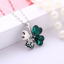 Austrian Crystal Four Leaf Leaves Clover Heart Rhinestones Necklace Pendant Gift