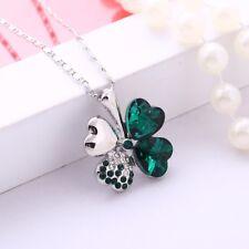 Austrian Crystal Four Leaf Leaves Clover Heart Rhinestones Necklace Pendant Gift