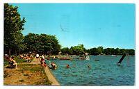 1962 Oakwood Hotel Beach, Lake Wawasee, IN Postcard *6J25