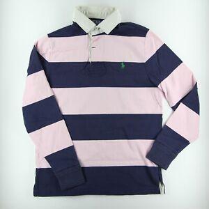 Vintage 00s Classic Ralph Lauren Long Sleeve Rugby Shirt (Light Pink&Navy Blue)