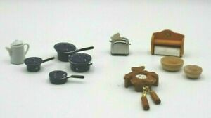 3x 1:12 Doll House Cookware Furniture Metal Pan Home Kitchen Rooms Accs