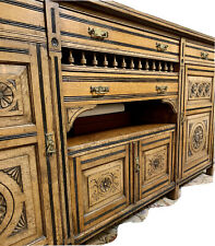 More details for oak sideboard, 4 door, carved, edwardian, antique